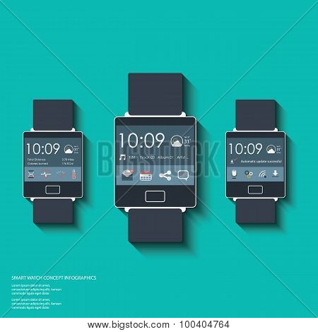 Set of smartwatch displays with applications icons for fitness trackers, messages and emails.