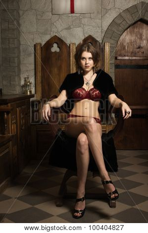 Sexy Woman In A Medieval Interior
