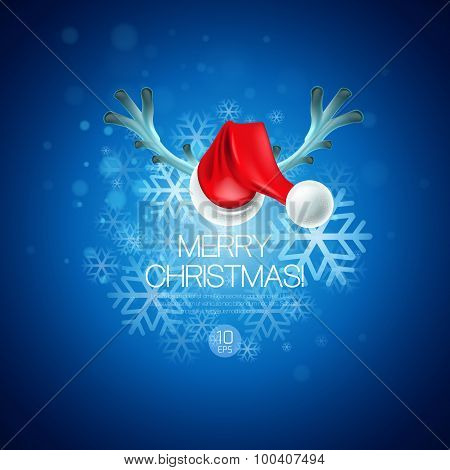 Christmas card with Santa Claus hat and reindeer antlers
