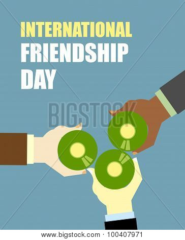 International Friends Day. Friends Drinking Beer. Top View Clink Of Beer Bottles. Vector Illustratio