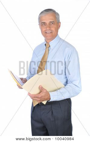 Middle Aged Businessman With File Folder