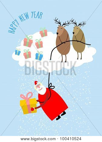 Santa Claus Comes Down On A Rope And Gives A Gift. Deer On Cloud Cover Santa Claus. Snow From Clouds