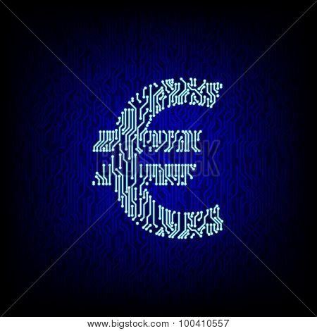 Cyber money concept. Circuit board euro symbol vector illustration.