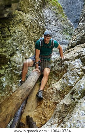 Hiker In A Canyon
