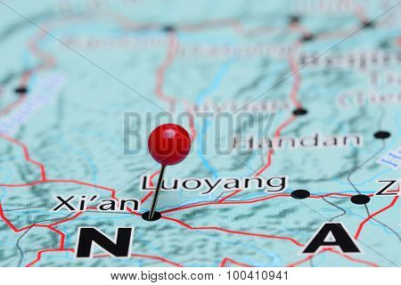 Xian pinned on a map of Asia