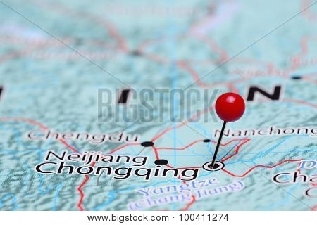 Chongqing pinned on a map of Asia