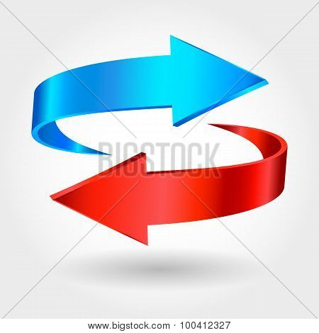 Arrows Sign. Red Blue Color. Isolated On White