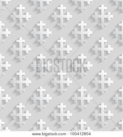 White Seamless Pattern With Crosses.