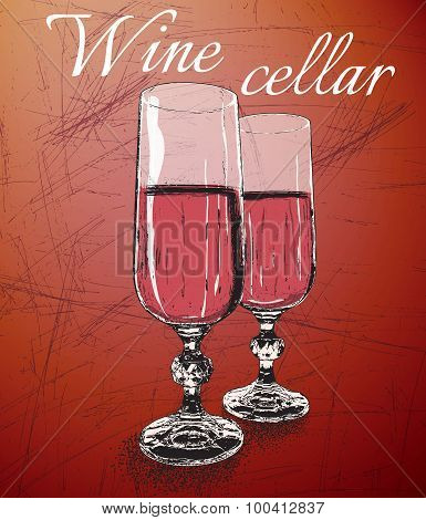 Two wineglasses on shabby background