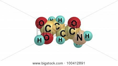Asparagine molecule isolated on white
