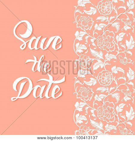 Save The Date Vector Card Template With Handdrawn Unique Typography Design Element For Greeting Card