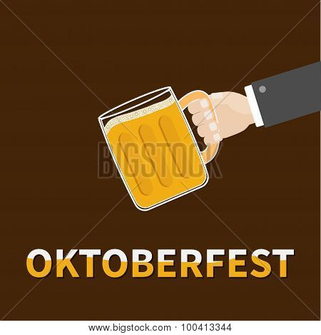 Oktoberfest Hand And Clink Beer Glasses Mug With Foam Cap Froth Bubble. Brown Background Flat Design