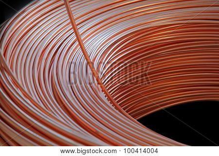 Copper cable factory, abstract close up background