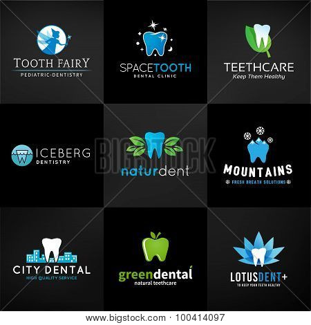 Set of dental logos. Vector tooth designs. Teeth clinic template. Creative health concept. Oral care