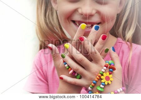 Children's multicolored manicure.