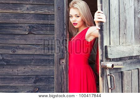 Beautiful Asian Woman Opens The Door
