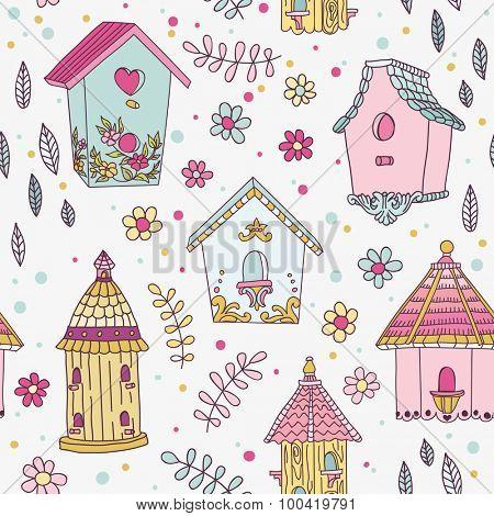 Cute Bird House Background - Seamless Pattern