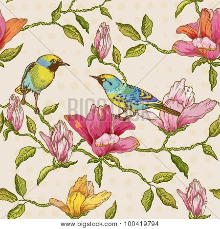 Vintage Seamless Background - Flowers and  Birds - for design and scrapbook