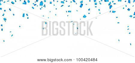 Colorful celebration banner with blue confetti. Vector background.