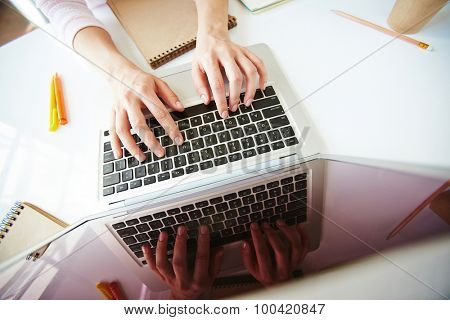 Female student pressing keys of laptop
