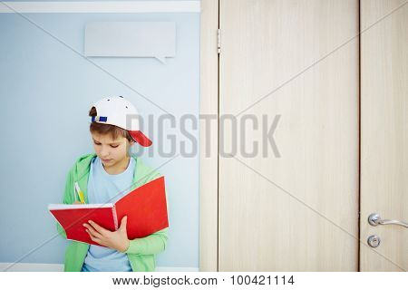 Clever boy making notes in exercise-book near classroom door