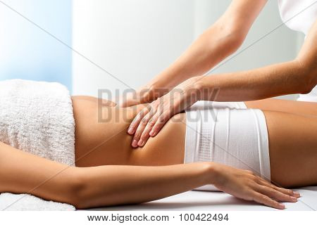 Therapist Doing Curative Belly Massage On Female Patient.