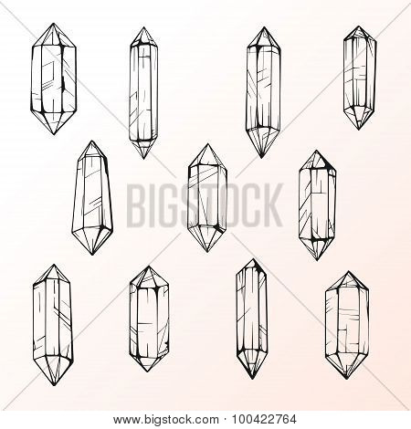 Set of 11 magic crystal gems.