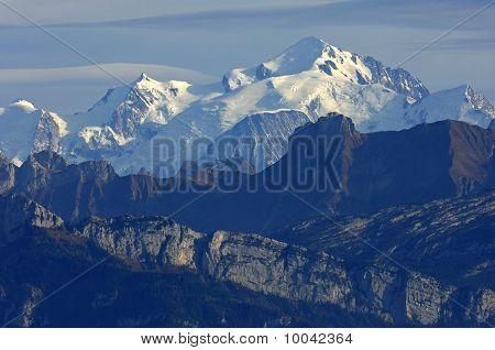 schneebedeckten Massivs des Mt.-Mont-Blanc