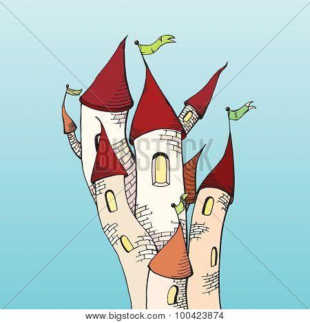 Cartoon castle scetch