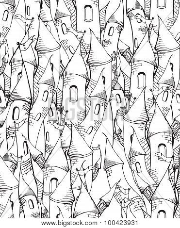 Seamless pattern with cartoon towers, sketch towers, black and white