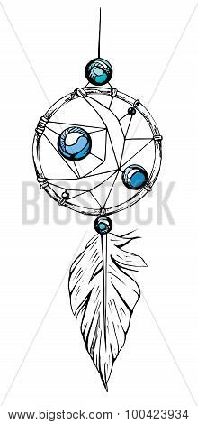 Indian dream catcher. Ethnic sketch style illustration.
