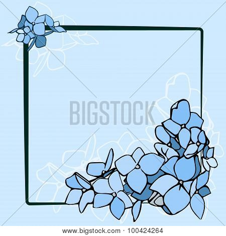 Black Frame With Blue Flowers