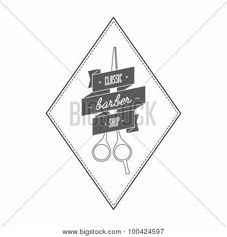 Vintage Barbershop Logo In Gray Color.
