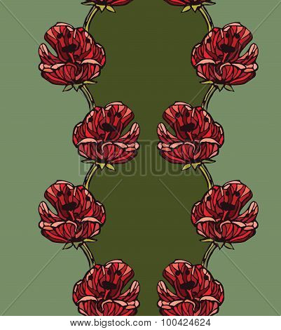 Seamless pattern background with red tulips