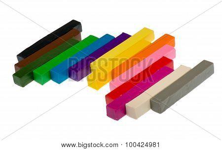The bricks of colorful plasticine isolated.