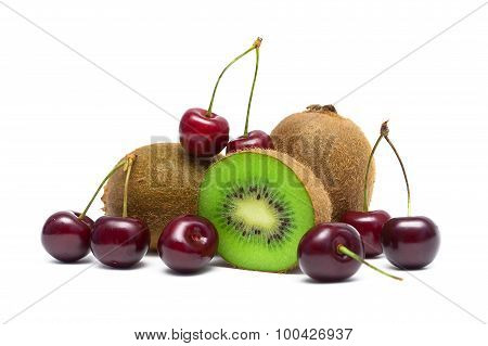 Cherries And Kiwi Fruit Close-up On A White Background