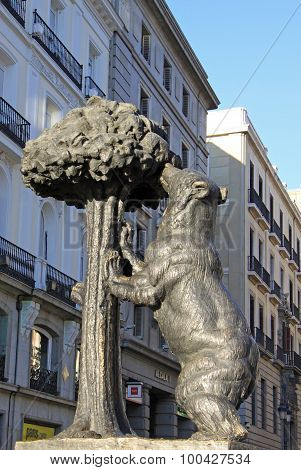 Symbol Of Madrid - Statue Of Bear And Strawberry Tree, Puerta Del Sol, Madrid, Spain