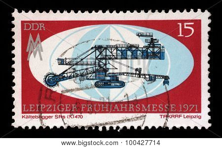 GDR - CIRCA 1971: a stamp printed in GDR shows Leipzig Fair, circa 1971