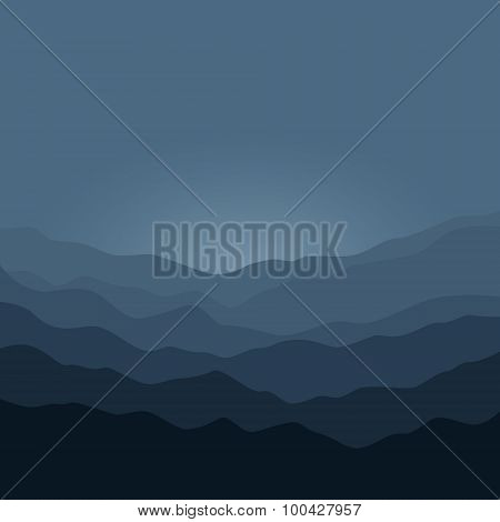 Silhouette of the Mountains  Before  Sunrise