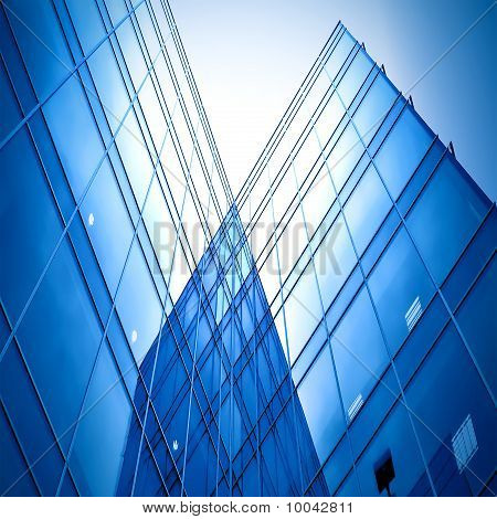 concept of contemporary blue glass architecture of skyscrapers