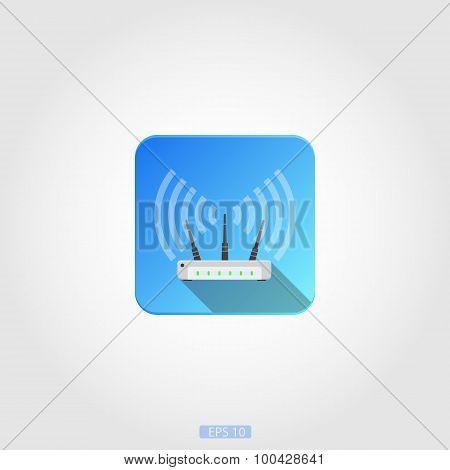 Wifi router icon. Square concept