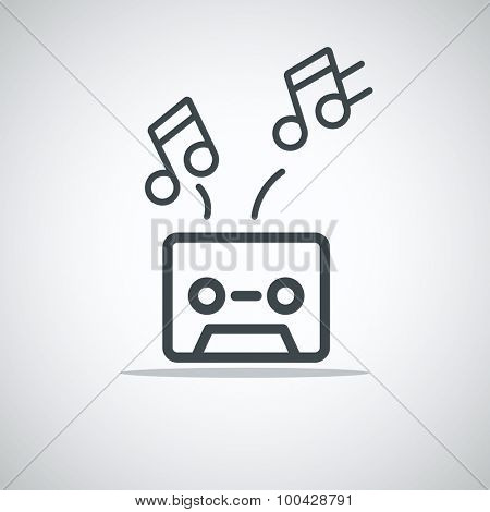 Modern media web icon. Audio cassette