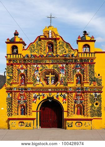 Guatemala, View On The Most Colour Facade Church In Guatemala