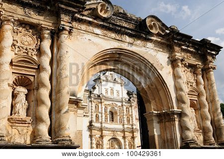 Guatemala, View On The Destroyed Cathedral In Antigua