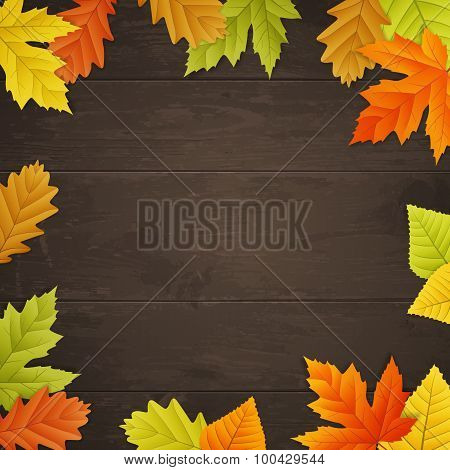 Vector Autumn Background On Wooden Board