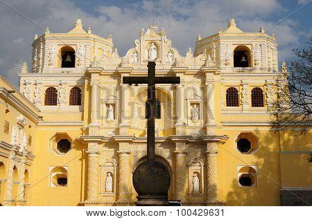 Guatemala, View On The Colonial La Merced Church In Antigua