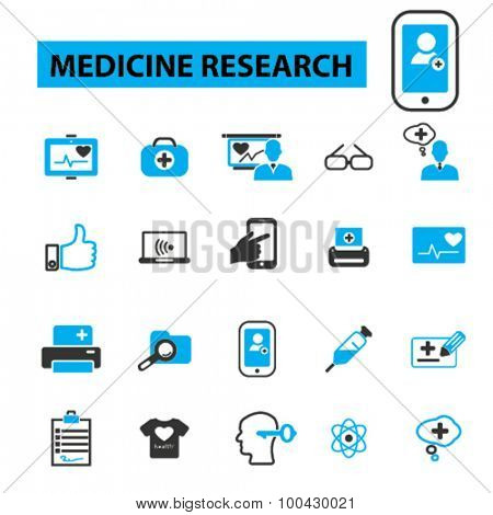 Medicine research icons concept. Medicine technology, hospital, medical lab, health care, medical icons. Vector illustration set.