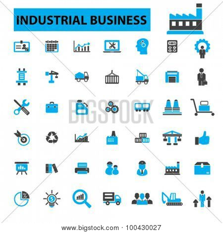 Industrial business icons concept. Factory, industry, business meeting, logistics,  industrial building, manufacturing, manufacturing plant, engineering, business concept,  Vector illustration set