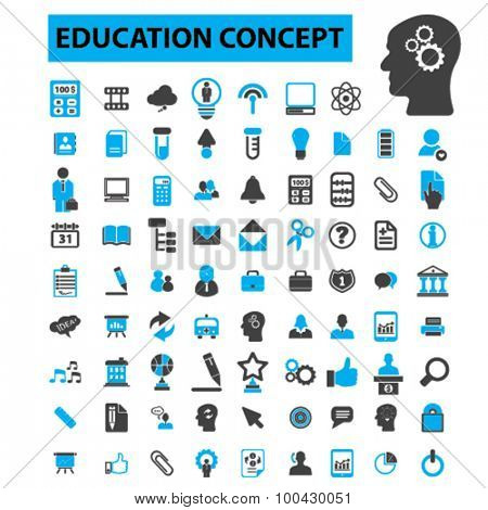 Education icons concept. School, learning, student, teacher, book, graduation, training,  adult learning,  teaching,  knowledge. Vector illustration set
