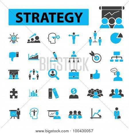 Strategy icons concept. Plan,  strategy concept,  business strategy,  marketing,  strategic,  strategic planning, business meeting, advertising, business structure. Vector illustration set